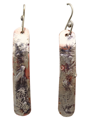 Copper & Sterling Skinny Earrings 2 1/4