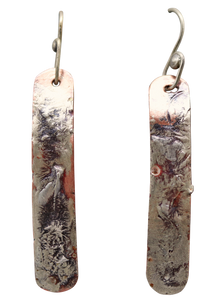 "Copper & Sterling Skinny Earrings 2 1/4"" long. Dare to Dream Collection"