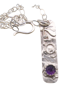 sterling skinny pendant with amethyst gemstone