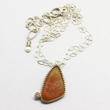 Load image into Gallery viewer, Full image of drusy and sterling pendant