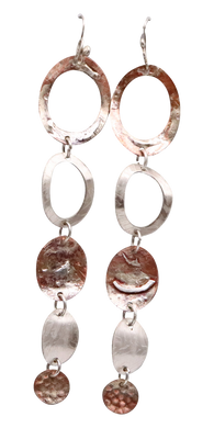 coper and sterling super long earrings handmade in Arizona