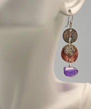 Load image into Gallery viewer, handmade in Arizona rustic amethyst earrings