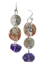 Load image into Gallery viewer, super long amethyst rustic earrings