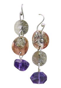 super long amethyst rustic earrings
