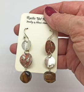 "Tiger's Eye Ancient Spirit Earrings. 2 1/2"" long"