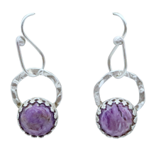 "Load image into Gallery viewer, Charoite and Sterling Earrings. 1 1/4"" long"