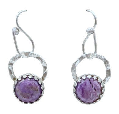 Charoite and Sterling Earrings. 1 1/4