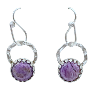 "Charoite and Sterling Earrings. 1 1/4"" long"