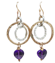Load image into Gallery viewer, gold filled amethyst earrings