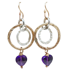 gold filled amethyst earrings