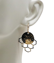 "Load image into Gallery viewer, Golden Honeycomb Mini Earrings. 18k Gold and Steel. 1 3/8"" long"