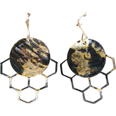 Golden Honeycomb Mini Earrings. 18k Gold and Steel. 1 3/8