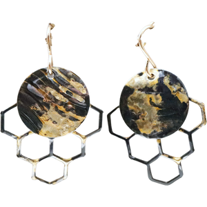"Golden Honeycomb Mini Earrings. 18k Gold and Steel. 1 3/8"" long"