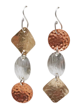 Load image into Gallery viewer, gold, silver and copper earrings
