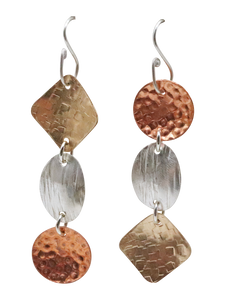 gold, silver and copper earrings