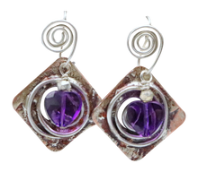 Load image into Gallery viewer, faceted amethyst gemstone earrings