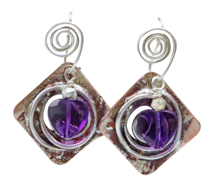 faceted amethyst gemstone earrings