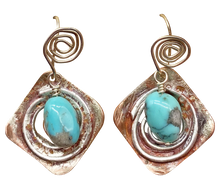 Load image into Gallery viewer, Copper, Sterling and Turquoise gemstone Earrings. Sacred Spiral Collection