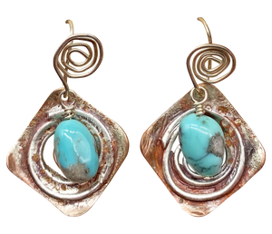 Copper, Sterling and Turquoise gemstone Earrings. Sacred Spiral Collection
