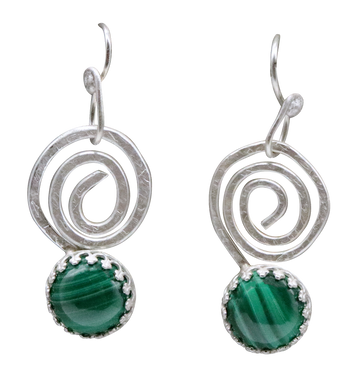 malachite sacred spiral earrings