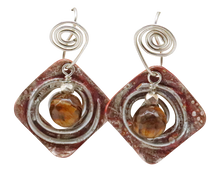 Load image into Gallery viewer, tigers eye copper silver earrings
