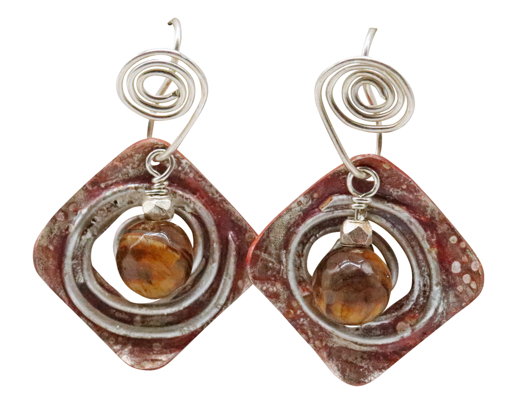 tigers eye copper silver earrings