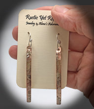 Load image into Gallery viewer, super skinny earrings in copper and silver shown on card