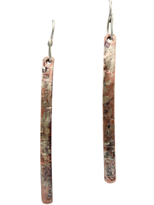 super skinny copper and sterling earrings