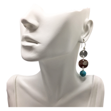 Load image into Gallery viewer, natural turquoise earrings on bust