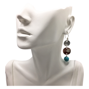 natural turquoise earrings on bust