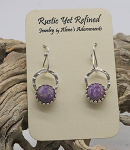 charoite earrings shown on card