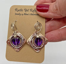Load image into Gallery viewer, Sacred Spiral amethyst earrings shown on card