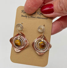 Load image into Gallery viewer, gemstone sacred spiral earrings