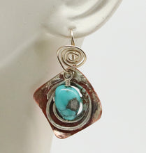 Load image into Gallery viewer, copper sterling turquoise earrings