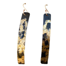 "Load image into Gallery viewer, Golden Steel  and 18K gold Skinny Earrings 3"""" long."