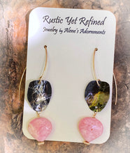Load image into Gallery viewer, rhodochrosite and gold earrings