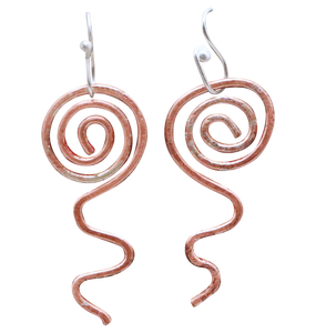 "Sacred Spiral Copper and Silver Earring. 1 7/8"" long"