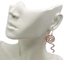Load image into Gallery viewer, copper and sterling spiral earrings