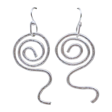 textured fine silver earrings
