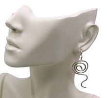 Load image into Gallery viewer, sacred spiral fine silver earrings on bust