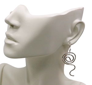 sacred spiral fine silver earrings on bust