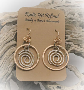 "Sacred Spiral Gold Filled  and sterling earring. 1 3/4"" long"
