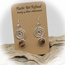 Load image into Gallery viewer, Spiral earrings shown on romance card
