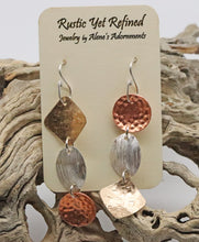 Load image into Gallery viewer, Rays of Sunshine earrings 3 textured metals