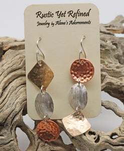 Rays of Sunshine earrings 3 textured metals