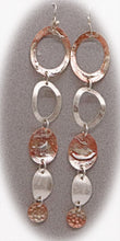 Load image into Gallery viewer, artisan earrings in sterling silver and copper