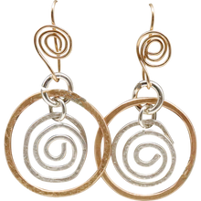 Load image into Gallery viewer, sacred spiral gold fill earrings