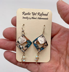 Marilyn Earrings.  Copper, sterling & Swarovski crystal