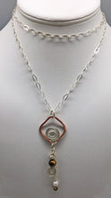 Load image into Gallery viewer, Tigers Eye, Copper and Sterling Open Spiral Pendant.
