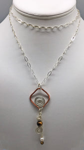 Tigers Eye, Copper and Sterling Open Spiral Pendant.